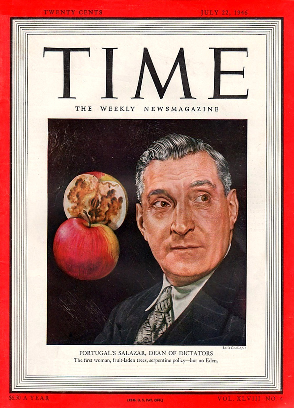 1946 - Salazar - cover of Time Magazine, July 22, 1946 - capa da revista Time